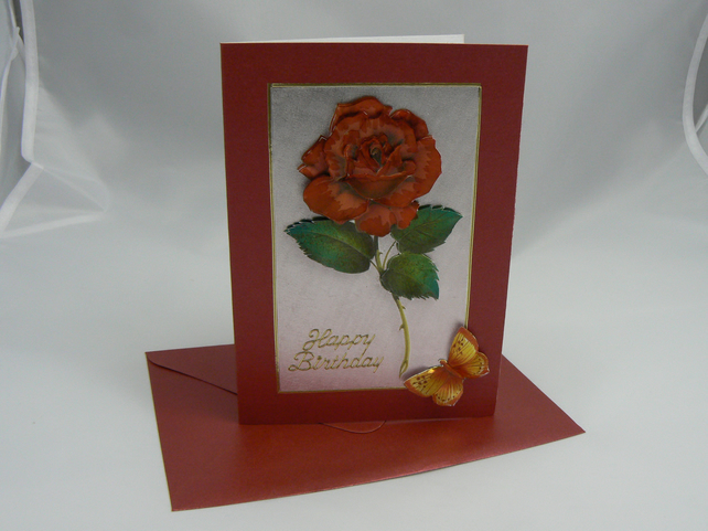Rose & Butterfly Birthday card (3D Decoupage)
