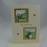 Blue tit and kingfisher get well card