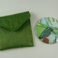 kingfisher handbag mirror with pouch