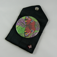 Butterfly handbag mirror with pouch