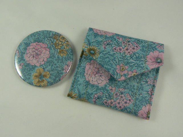 floral handbag mirror with matching pouch