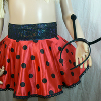 Ladybird skirt with headband antennae