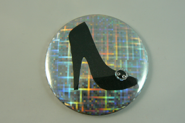 black shoe pocket mirror (with pouch)