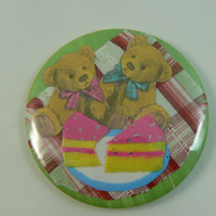 Teddy bear's picnic pocket mirror with pouch