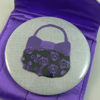 purple handbag pocket mirror (with pouch)