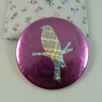 Hologram bird pocket mirror with pouch