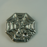 Pewter brooch ( spider on web with stone)