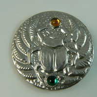 pewter brooch (scarab beetle with gemstones)