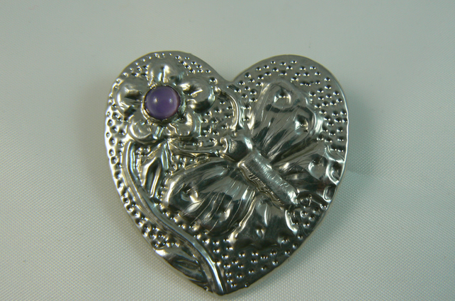 Pewter heart brooch (with butterfly and flower)