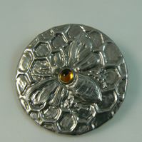 Pewter brooch ( honey bee on honeycomb)