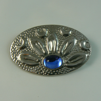 Pewter brooch ( blue cabochon flower)