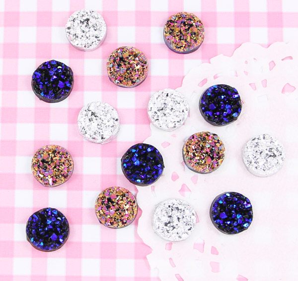 10 x Gemstone Style Sparkle Flatback Cabochon Embellishments DIY Kawaii Craft