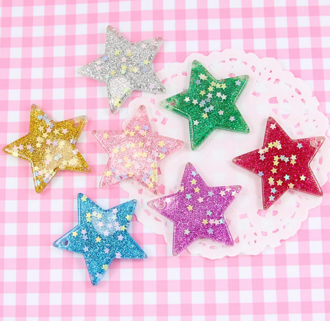 5 x Colourful Glitter Star Bead Embellishments Jewellery Making Craft - UK