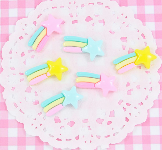 6 x Cute Shooting Star Flatback Embellishment Cabochons Kawaii Craft