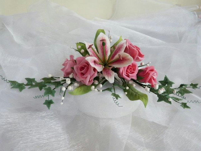 Cold Porcelain hand made floral cake topper