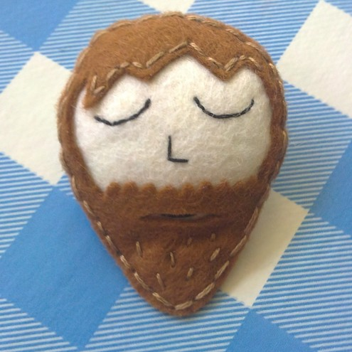 Brown Bearded Felt Boy Brooch