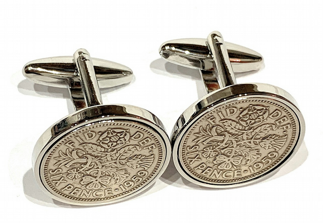 Luxury 1967 Sixpence Cufflinks for a 52nd birthday. Original british sixpences