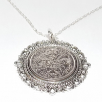 Fancy Pendant 1959 Lucky sixpence 60th Birthday plus a Sterling Silver 24in Chai