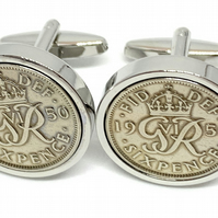 Luxury 1945 Sixpence Cufflinks for a 75th birthday. Original British sixpences