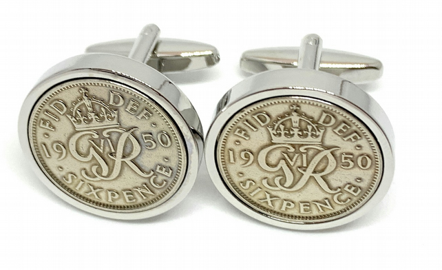 1951-69th BIRTHDAY SIXPENCE COIN CUFF LINKS