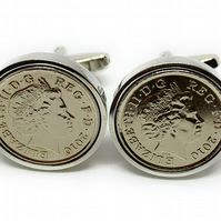 2010 10th Anniversary Tin Wedding Anniversary coin cufflinks - for a wedding in