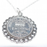 Fancy Pendant 1950 Lucky sixpence 70th Birthday plus a Sterling Silver 24in Chai