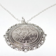 Fancy Pendant 1950 Lucky sixpence 70th Birthday plus Sterling Silver 20in Chain