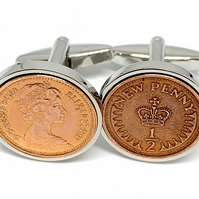 Vintage Retro 1980 half pence coin cufflinks for a 40th Birthday