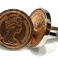 1980 40th Birthday Anniversary 1 pence coin cufflinks - One pence cufflinks from
