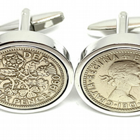 1954 Sixpence Cufflinks 66th birthday. Original sixpence coins Great gift HT