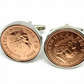 7th Copper wedding anniversary cufflinks - Copper 1p coins from 2013 - Gift