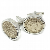 1964 Sixpence Cufflinks 56th birthday. Original sixpence coins Great gift from 1