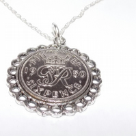 Fine Pendant 1950 Lucky sixpence 70th Birthday plus a Sterling Silver 22in Chain
