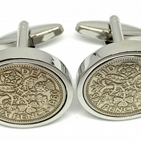 1957 Sixpence Cufflinks 63rd birthday. Original sixpence coins Great gift from 1