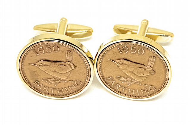 Luxury 1950 Farthing Cufflinks for a 70th birthday. British Farthings Rose G