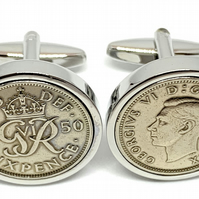 1950 Sixpence Cufflinks 70th birthday. Original sixpence coins Great gift from 1