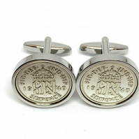 1940 Sixpence Cufflinks 80th birthday. Original sixpence coins Great gift from 1