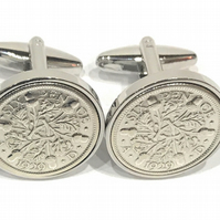 1930 Sixpence Cufflinks 90th birthday. Original sixpence coins Great gift from 1