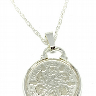 1930 90th Birthday Anniversary sixpence coin pendant plus 18inch SS chain gift 8