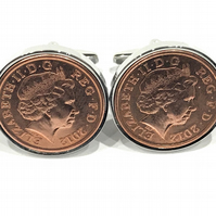 8th Bronze wedding anniversary cufflinks - Copper 1p coins from 2012