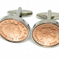 "7th ""Copper wedding"" anniversary cufflinks - ""Copper"" 1p coins from 2013"