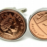 7th Copper wedding anniversary cufflinks - Copper 1p coins from 2013- Gift - HT