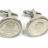 1944 Sixpence Cufflinks 77th birthday. Original sixpence coins Great gift HT