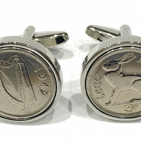 1942 Irish Threepence coin cufflinks - Great gift idea 1942 irish threepence