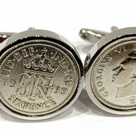 Luxury 1938 Sixpence Cufflinks for 83rd birthday. Original British sixpences HT
