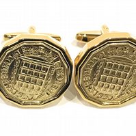 1957 Threepence 3d 63rd birthday Cufflinks - Original 1957 threepence cufflinks