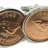 64th Birthday 1956 Gift Farthing Coin Cufflinks,Two tone design, 64th