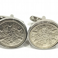 1936 Sixpence Cufflinks 84th birthday. Original sixpence coins Great gift from 1