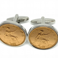 90th Birthday 1930 Gift Farthing Coin Cufflinks, Two tone design, 90th