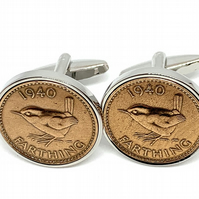 80th Birthday 1940 Gift Farthing Coin Cufflinks,Two tone design, 80th